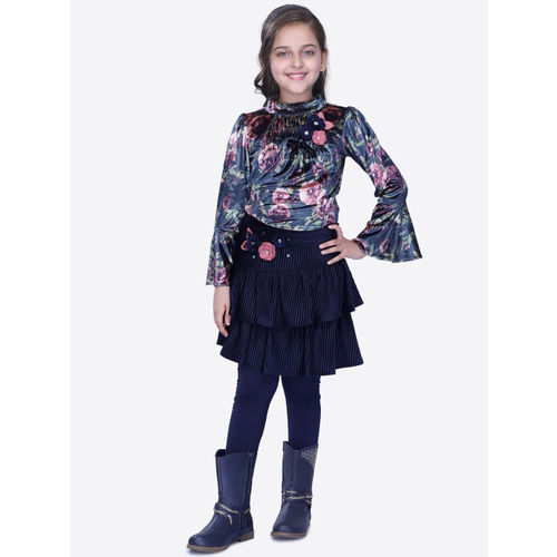 CUTECUMBER Girls Navy Blue & Pink Printed Top