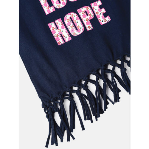 612 league Girls Navy Blue Printed Fringed Top