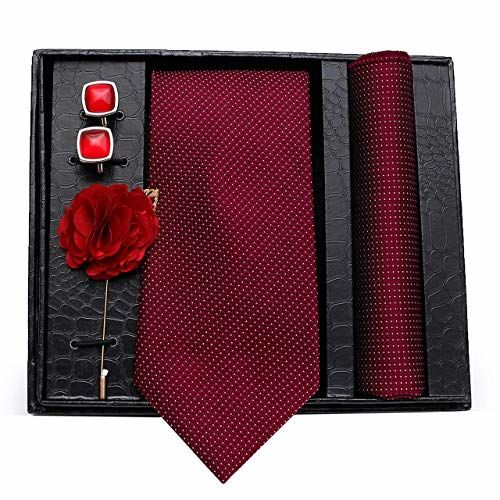 AXLON Men's Polyester and Silk Necktie, Pocket Square, Cufflink and Lapel Pin Set (Dull Maroon)