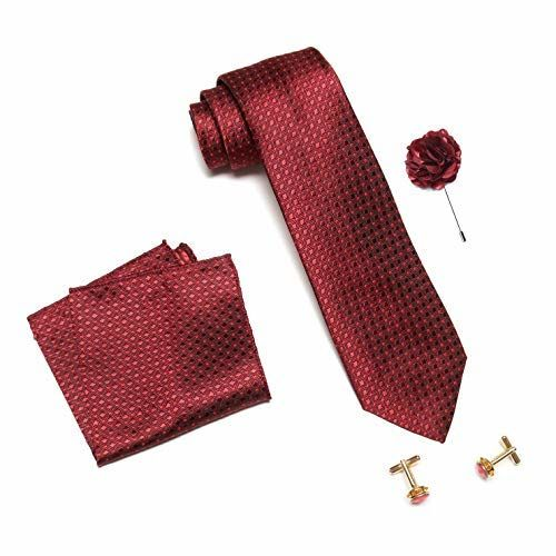 Axlon Men's Micro Polyester Dotted Necktie Set with Pocket Square, Lapel Pin and Cufflinks (Dark Red, Free Size)