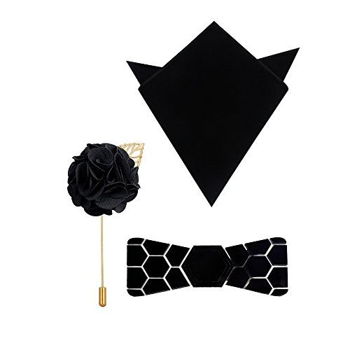 HEX TIE Mirror Neck, Pre Tied Reversible Hex Tie, Pocket Square, Lapel Pin and Bow Tie for Men (Gold)