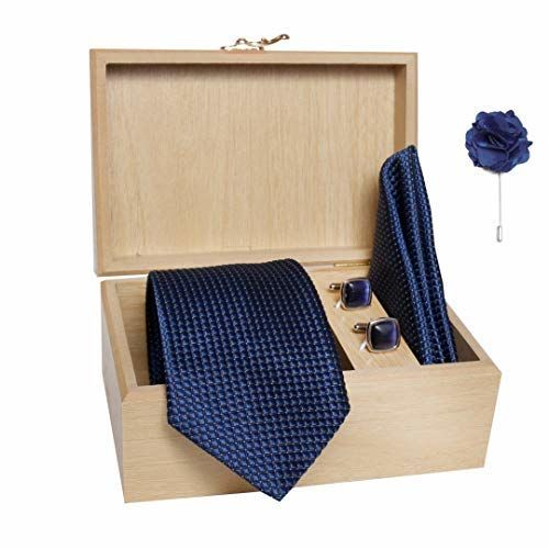 nu-Lite Men's Micro Polyester Dotted Necktie Set with Pocket Square, Lapel Pin and Cufflinks in Wooden Box (Free Size)