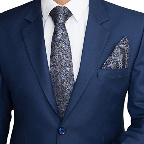 To The Nines Men's Silk Cotton Pocket Square, Bow Tie and Lapel Pins (Blue)