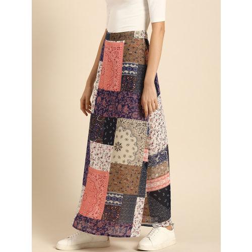 DressBerry Women Navy Blue & Pink Printed A-Line Maxi Skirt