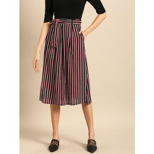 DressBerry Women Black & Red Striped Flared Skirt