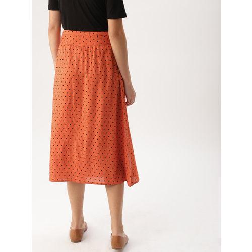 DressBerry Women Rust Orange & Black Printed A-Line Skirt