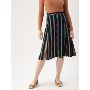 DressBerry Women Black & Teal Blue Striped A-Line Skirt