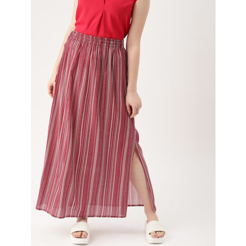 DressBerry Women Maroon & White Striped Maxi A-Line Skirt