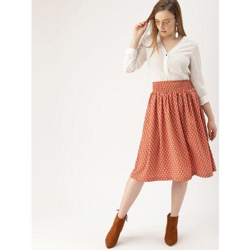 DressBerry Women Tan Brown & White Printed A-Line Skirt