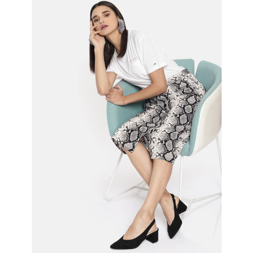 DressBerry Women Black & White Animal Printed Midi Straight Skirt