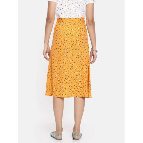 DressBerry Women Yellow & Blue Printed Midi A-Line Skirt