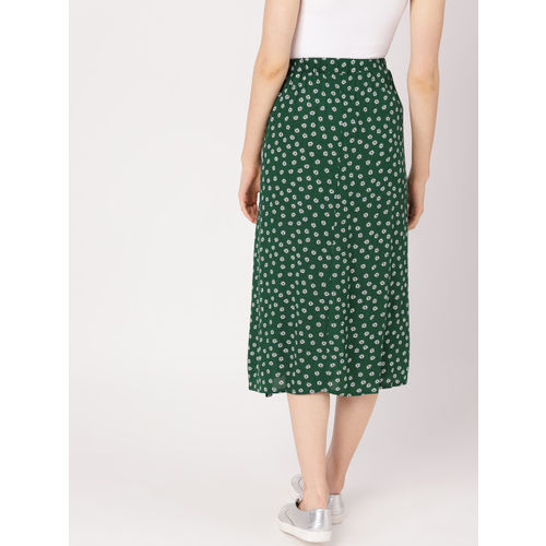 DressBerry Women Green & White Printed Midi A-Line Skirt