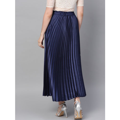 SASSAFRAS Women Navy Blue Accordian Pleated Satin Finish Flared Maxi Skirt