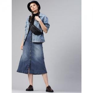 SASSAFRAS Women Blue Washed Midi Denim A-Line Skirt