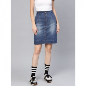 SASSAFRAS Women Blue Washed Denim A-Line Skirt