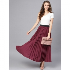 SASSAFRAS Burgundy Polyester Accordian Pleat Maxi Flared Skirt