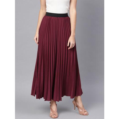 SASSAFRAS Burgundy Polyester Accordian Pleat Maxi Flared Skirt