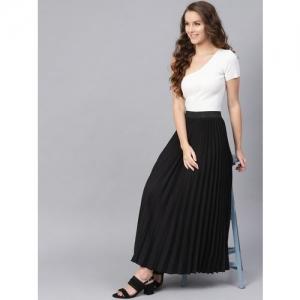 SASSAFRAS Black Polyester Solid Accordian Pleat Maxi Flared Skirt