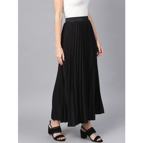 SASSAFRAS Black Polyester Solid Accordian Pleat Maxi Flared Skirt