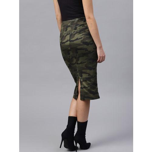 SASSAFRAS Olive Green & Black Camouflage Print Pencil Skirt