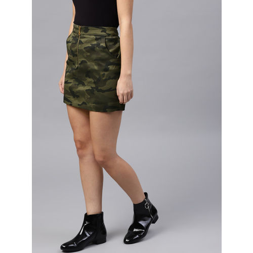 SASSAFRAS Olive Green & Black Camouflage Print Mini Skirt