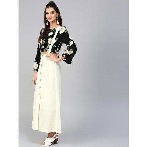 SASSAFRAS Off-White Cotton Maxi Skirt with Suspenders