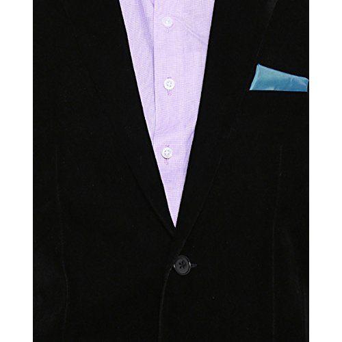 Shaftesbury London Mens Slim Fit Velvet Formal Blazer Single Breast Jacket(Black,Parent)