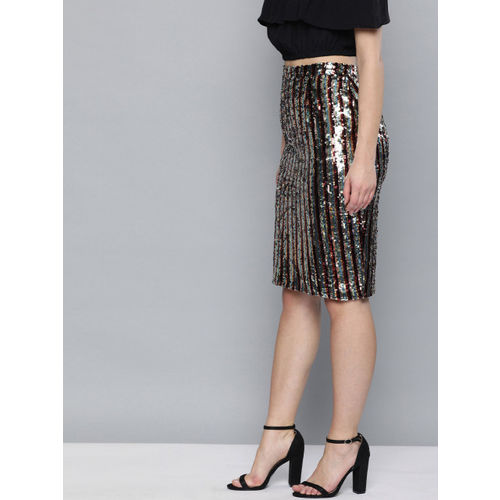 HERE&NOW Women Multi-Coloured Sequinned Pencil Skirt