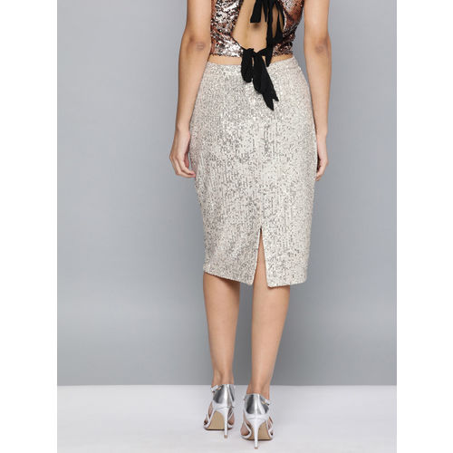 HERE&NOW Women Gold-Toned Sequinned Pencil Skirt