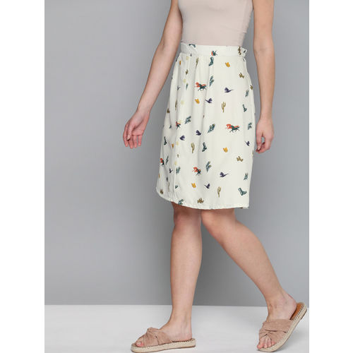 HERE&NOW Women Off-White & Green Printed A-Line Skirt