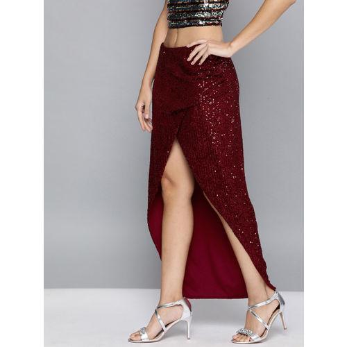 HERE&NOW Women Red Sequinned Tulip Skirt