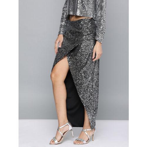HERE&NOW Women Black & Silver-Toned Sequinned Tulip Skirt