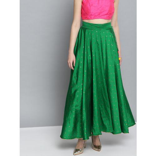 HERE&NOW Women Green & Golden Self Design Flared Maxi Skirt