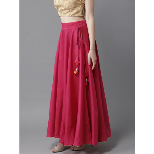 HERE&NOW Women Magenta Solid Maxi Flared Skirt