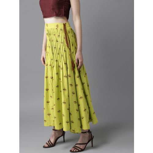 HERE&NOW Women Green & Brown Printed Maxi Flared Skirt