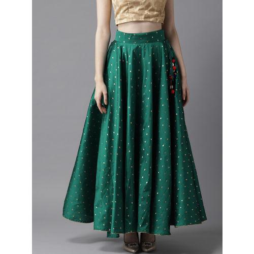 HERE&NOW Women Green & Golden Woven Design Maxi Flared Skirt