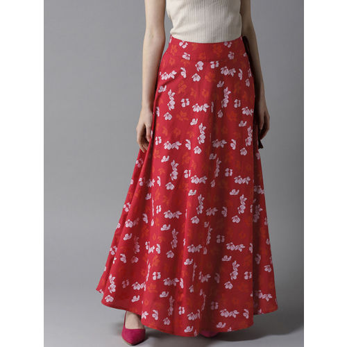 HERE&NOW Women Red & White Printed Flared Maxi Skirt