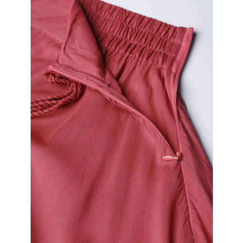 HERE&NOW Women Dusty Pink Solid Maxi Flared Skirt