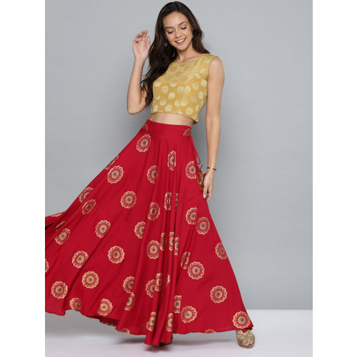 HERE&NOW Women Red & Golden Printed Flared Maxi Skirt