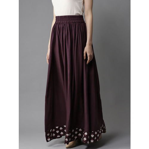 HERE&NOW Women Burgundy Solid Flared Maxi Skirt