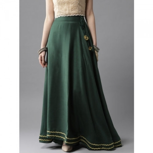 HERE&NOW Women Green Solid Maxi Flared Skirt