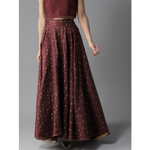 HERE&NOW Women Maroon & Golden Printed Maxi Flared Skirt