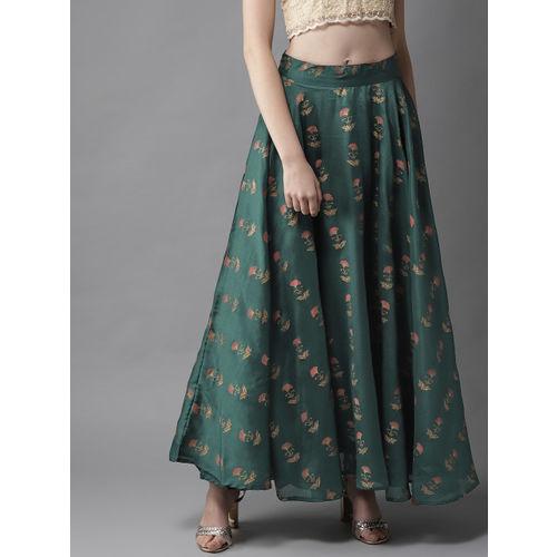 HERE&NOW Women Green & Golden Printed Circular Flared Maxi Skirt
