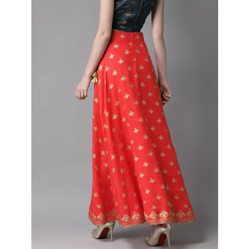 HERE&NOW Women Coral Red & Golden Printed A-Line Maxi Skirt