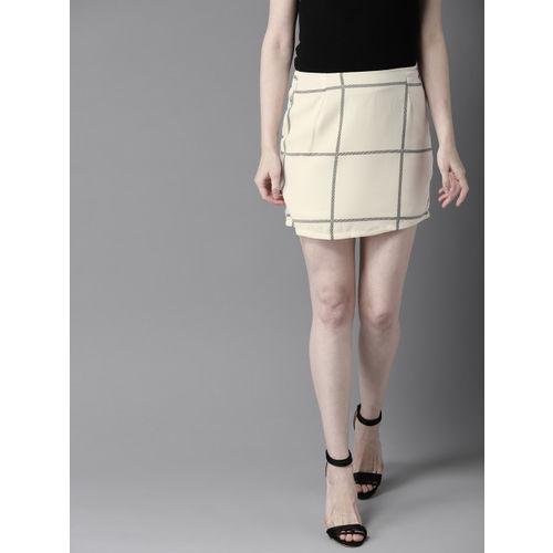 HERE&NOW Women Off White & Black Checked Mini Straight Skirt
