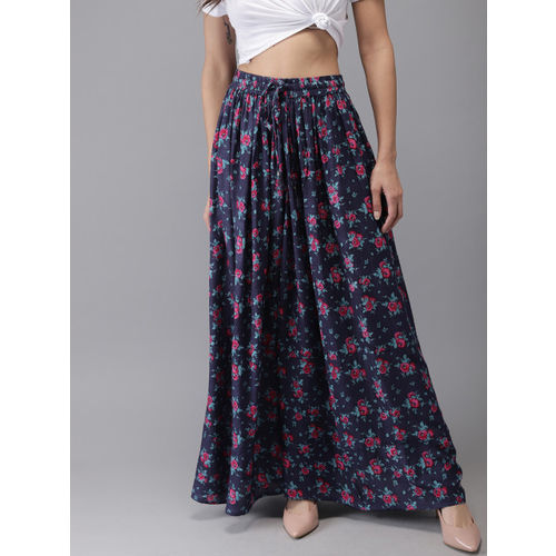 HERE&NOW Women Navy Blue & Pink Floral Print Maxi Flared Skirt