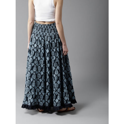 HERE&NOW Blue Printed Tiered Maxi Flared Skirt