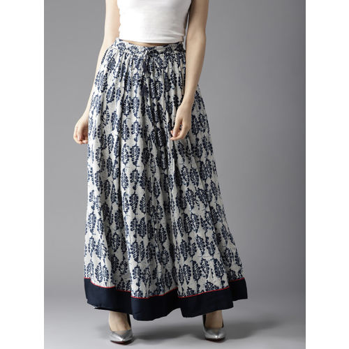HERE&NOW Off-White & Navy Printed Maxi Flared Skirt