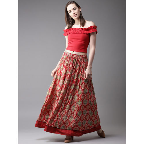 HERE&NOW Red & Beige Printed Maxi Flared Skirt