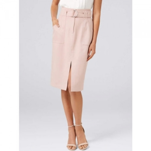 Forever New Women Pink Solid Knee-Length Pencil Skirts